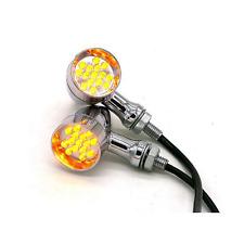 2X Chrome Motorcycle LED Turn Signal indicator Light Harley chopper bobber cafe