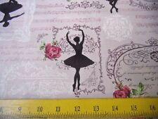 SALE Quilt Gate Fabrics Pink Brown Ballet Dancers Script & Roses