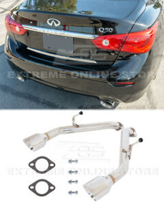 Axle Back Muffler Delete Exhaust For 14-Up Infiniti Q50 Double Wall Dual Tips