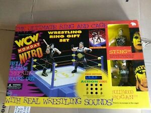 NEW WCW Wrestling Ring Cage Gift Set STING HOGAN With Sound Monday Nitro SEALED