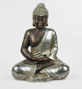 XL Buddha sitzend silber ca. 50 cm Figur Feng Shui Skulptur Garten Deko