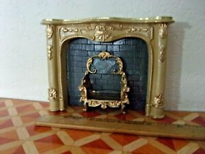 LOVELY CREME MARBLE FIREPLACE - RESIN - DOLL HOUSE MINIATURE