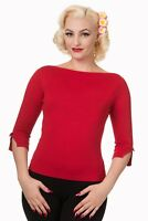 Red Vintage 50's Rockabilly Blouse Retro Addicted Sweater Top Banned Apparel