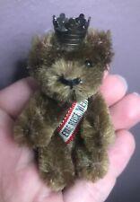 Vintage Miniature Schuco Jtd Dk Brown Mohair Bear W/ Sash Brass Crown Nr