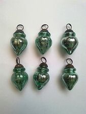 Set of 6 Mini Vintage Green Mercury Glass Ornaments (melon design)
