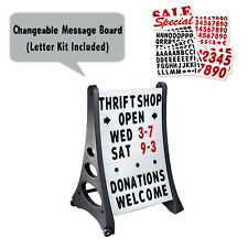 Two Side Qla Deluxe Message Board, Changeable Letter Sidewalk Sign, White