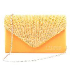 Womens Satin diamante Clutch Bag Evening Bridal Bag Wedding Fashion Prom Handbag