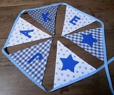 Personalised Name Bunting Boys Silver Grey White, £1.25 PER FLAG