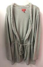 ELLE XL Gray Silver Metallic Cardigan Sweater Long Sleeve Euc Lkn