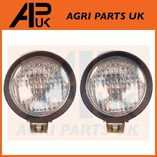 "PAIR Round Rubber 126mm 5"" Work Lights Lamps Compact Iseki Kubota Yanmar Tractor"