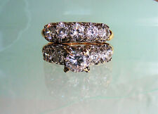 Cz Cubic Zirconia Wedding Set Ring 7.4g Gorgeous 14K Solid Gold Designer 1.5 Ctw