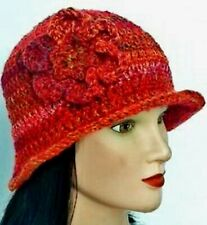 LADIES WINTER CHUNKY CLOCHE HAT red floral warm bucket Gatsby woman's beanie 43