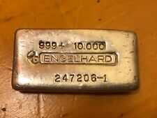 10 Oz Engelhard 3rd Series '-1' Suffix Bullhorn Poured Silver Bar