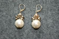 DESIGNER ANTIQUE STYLE FAUX PEARL DANGLE EARRINGS GOOD CONDITION