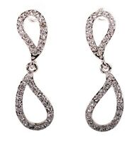 Swarovski Elements Crystal Abstract Infinity Earrings Rhodium Authentic 7291w