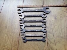 """7 Vintage Eagle Brand Super Chrome 3/4""""to 1/8""""Whitworth Open Ended Spanners.E."""