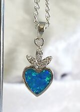 Silver Fire Opal Heart Pendant with Chain