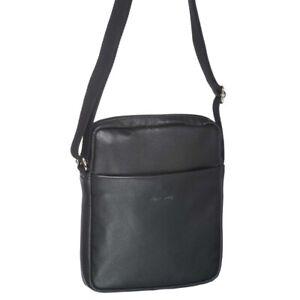 Pierre Cardin Leather Ipad Bag. Black Travel Unisex Cross Body Business Bag