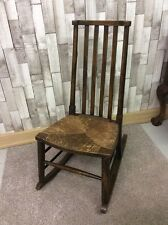 Oak Rocking Chair With Rush Seat - Vintage