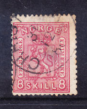 NORWAY 1867 SG29 8sk carmine - fine used - off-centre. Catalogue £75