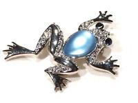 Bijou alliage argenté broche intemporelle grenouille lucite bleue brooch