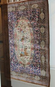"""Antique 100 Percent Silk Wall Hanging rug w/ high knot count 40"""" by 60"""""""