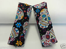 Baby Car Seat Belt Strap Covers Highchair Stroller Pram - Sugar Skulls on Black