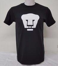 Pumas de la UNAM Men's Black T-shirt Straight Fit Heat Press Logo