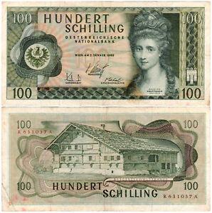 Austria 100 Schilling P#145a (1969) Oesterreichische Nationalbank VF