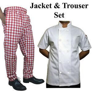 Chef Jacket White Plastic Button Short Sleeve & Red Large Check trouse Set UK