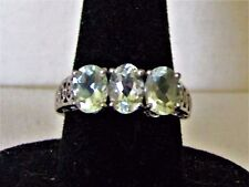 ~1.5 TCW NATURAL Prasiolite Green Amethyst 925 Sterling Silver Ring 7