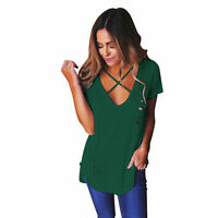 UK Womens V Neck Short Sleeve T-Shirt Ladies Loose Casual Tops Blouse Plus Size