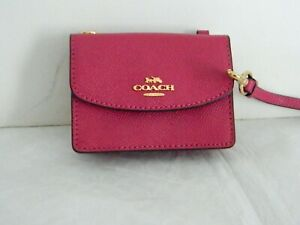 NWT COACH BRIGHT VIOLET LEATHER FLAP CARD CASE ON LANYARD COACH C5611