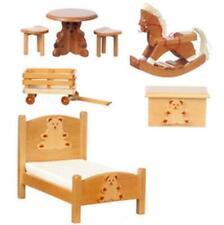 Dollhouse Bear Nursery Set Town Square Wood 7-pc Miniature