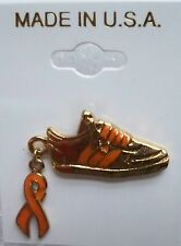 MS/Leukemia Awareness orange ribbon & stripes and laces sneaker pin, gold plated