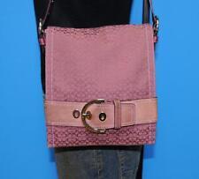 COACH Mini Signature Belted Purple Canvas Tote Shoulder Purse Hobo Leather Bag