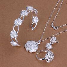 mujeres 925 plata flor bola Pendientes collar de la pulsera anillo Conjunto