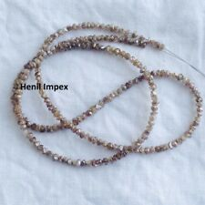 "Natural Brown Color Rough Loose Diamond Beads 20.07 Cts 16"" Strand Silver Clasp"