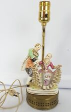 Vintage Figural Victorian Couple Man & Woman Statue Table Lamp Brass Base gold