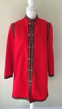 """VINTAGE WOMEN'S Red Nordic WOOL Metal Clasps COAT EMBROIDERED, MED, 38"""" Bust"""