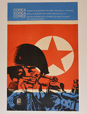 1968 Original Cuban Poster.Cold War.North Korea.Kim Il-Sung art.Corea flag