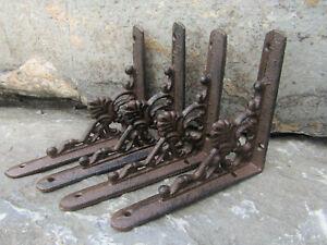 "Set of 4 Small 5.25"" Brown Antique-look Palmette & Vine Cast Iron Shelf Brackets"