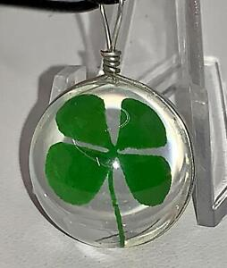 4 Leaf Clover Shamrock in Glass Ball Rope Necklace D-6713