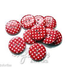 25 Botones rojo redondo con lunares en color blanco