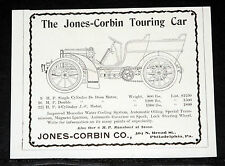 1903 OLD MAGAZINE PRINT AD, THE JONES-CORBIN TOURING CAR, POINTS OF SUPERIORITY!