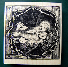 "P5  Baby Jesus with lamb-3x3"" WM rubber stamp"