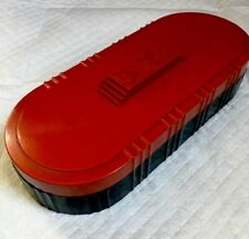 VINTAGE ART DECO OVAL TWO-TONED BAKELITE TRINKET BOX WITH HINGED RED LID USA