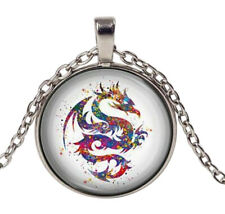 Collier Pendentif imprimé Dragon Multicolore, Acier argenté.