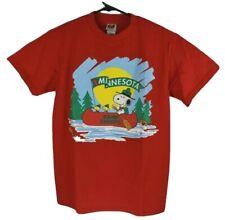 Vtg 90s Camp Snoopy Minnesota T Shirt Red Peanuts Size Medium New Old Stock