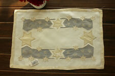 "11x17"" Christmas Golden Stars Appliqued Embroidered Placemat Dining Table Mat"